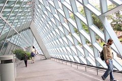 Gridded Skin on Slanted Structure (bross.emma) Tags: architecture outdoor grid walking seattle washington library building