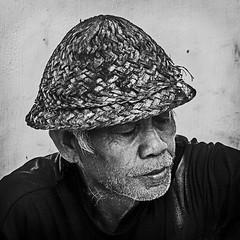 Bali 10 (kruser1947 (all killer no filler)) Tags: bw blackwhite monochrome man portrait hat bali indonesia ubud