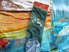 layers of stitched collages (Carolyn Saxby) Tags: texture scrim paper fabric stitch mixedmedia textileartist carolynsaxby