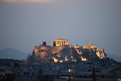 Twilight at the Parthenon (Herculeus.) Tags: 5photosaday architectureinpixels 2016 acropolis ancient archeology athens aug buildings columns greece greek parthenon religious rockoutcrop temple temples outdoor outside landscape