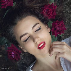 The last rose of summer (de_kovach) Tags: roses rose girl natural eyes closed divine