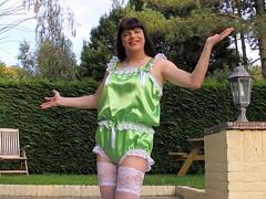 Green beauty (Paula Satijn) Tags: sexy hot girl babe lady tgirl satin silk silky shiny teddy playsuit lingerie lace garden white stockings stockingtops transvestite
