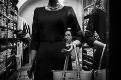 Surprise (Pierre Pichot) Tags: black white street streets streetphotography blackandwhite blackwhite cluj napoca romania shadows light contrast monochrome fuji fujifilm x100t pierre pichot city urban night woman shop statue model arm clujnapoca rou