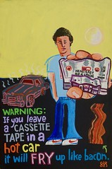Bacon / Cassette (spinadelic) Tags: acrylic painting paint art stevespencer bacon cassette cassettetape music blue jeans 70s littlerock arkansas october 2016 nike shoes oldschool sun car auto automobile guy nostalgia buckled headeast flatasapancake heat