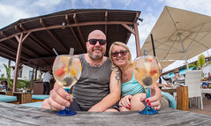 Sangria enjoyment. (CWhatPhotos) Tags: cwhatphotos camera photographs photograph pics pictures pic picture image images foto fotos photography artistic that have which contain with olympus four thirds 43 spanish spain mallorca majorca island october 2016 weather alcudia sangria drink champagnesangria alcohol pub bar together two couple happy smilers smile smiles samyang fisheye fish eye lens wide angle view
