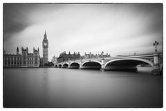 Passing time (Simon-Leigh) Tags: lee nd nikon d700 london westminster thames river bw mono bigben clock sky water blur bigstopper