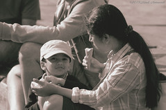 Portrait (Natali Antonovich) Tags: portrait sweetbrussels brussels belgium belgique belgie monochrome childhood children stare motherandson motherhood grandplace icecream lifestyle