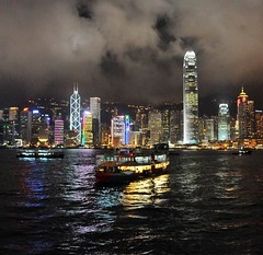 Three boats and Central (the.bryce) Tags: ferry night hongkong starferry victoriaharbour hongkongbay