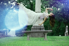of Porcelain and Light (Belcantosoprano) Tags: light white girl beautiful graveyard photoshop dark hair photography cool long pretty gorgeous ghost rad longhair floating levitation ombre lightleak illusion elegant porcelain beautifulgirl kirstie darkhair levitationphotography