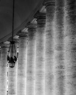 St. Peter's Basilica Rome Columns- b&w
