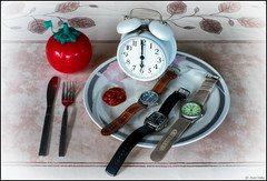 Dinner Time (Robots are Stupid) Tags: uk red england stilllife food 6 clock strange dinner tomato table lunch rouge evening weird ketchup watches time unitedkingdom britain sauce joke tomatoes watch knife plate fork timepiece supper wristwatch diet tablecloth six heinz cutlery tomatosauce dinnertable alarmclock finedining dinnertime calories fakefood knifeandfork newdiet heinz57 tomatoketchup heinztomatoketchup 6pm sixoclock wristwatches suppertime rashers 6oclock jokephoto xe1 ketchupbottle daviddalley davidjdalley fujifilmxe1 fujixe1 ketchuptime ketchupwitheverything