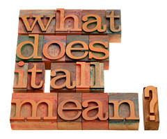 what does it all mean (sawyerdeb) Tags: life wood white vintage religious all printing question type what block concept spiritual letterpress meaningless isolated important typeface sense philosophical wordcloud