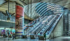 Canary Wharf. (Suggsy69) Tags: people london station underground nikon tube londonunderground escalators canarywharf hdr highdynamicrange thetube commuters d5200