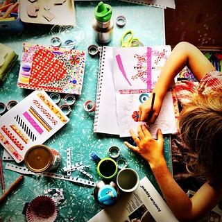 032/365 • last minute card making before we head to my mum's birthday lunch • #032_2015 #making #caravan #zoe #cards #birthday #craft #creativetable