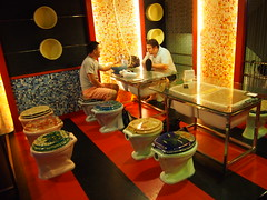 Modern Toilet is a restaurant in Taiwan where you can sit on toilets and eat out of toilet bowls!