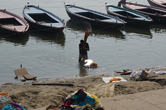 Laundry in the Ganges (amybatesny) Tags: india streetphotography laundry varanasi hindu hinduism ghat gangesriver
