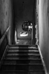 Gedney Railway Station Closed Since 1959 (BenChapmanphoto) Tags: blackandwhite bw monochrome wall stairs mono march soft fuji decay steps corridor lincolnshire fujifilm derelict urbex gedney 2015 legacylens canonfd50mm18sc fujifilmxpro1