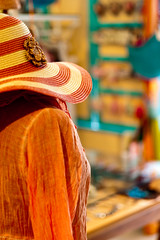 Lady Orange? (TablinumCarlson) Tags: leica sea orange woman mannequin hat shop lady turkey 50mm model dummies bokeh trkiye aegean summicron trkei hut m8 dummy schaufensterpuppe cesme heut alaat ismir alacati gis