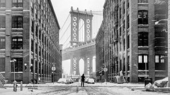 The only thing standing between a man and the bridge (darinkimphotography) Tags: nyc blackandwhite snow man brooklyn photographer manhattan snowstorm apocalypse january dumbo manhattanbridge juno winterstorm 2015 lastman darinkim snowpocalyps