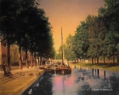 Digital Pastel Drawing of the Princess Canal in the Hague by Charles W. Bailey, Jr. (Charles W. Bailey, Jr., Digital Artist) Tags: art netherlands photomanipulation photoshop boats canal europe drawing pastel digitalart hague nik topaz alienskin alienskinexposure nikcolorefexpro digitalartist topazclean topazadjust topazdenoise topazdejpeg topazdetail topazclarity topazlenseffects topazrestyle charleswbaileyjr topazimpression princesscanal