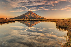 Sunset on Taranaki (bgspix) Tags: sunset newzealand sun mountain lake reflection clouds volcano mirror reflect nz taranaki mttaranaki canoneos5dmarkiii ef1635mmf4lisusm