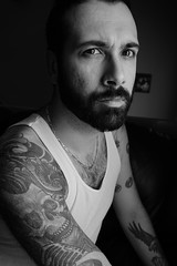 Me, Myself & I (AxelBergeron) Tags: portrait tattoo skull blackwhite wifebeater afi afireinside