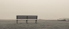 Sit By The Fog (Catskills Photography) Tags: blackandwhite lake fog bench shore hbm canong15