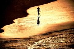 The-Runner - Tel-Aviv beach (Lior. L) Tags: light sea beach monochrome sport telaviv shadows silhouettes running therunner therunnertelavivbeach