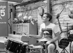 Datum Plane drummer (Mark Hickford) Tags: kodak mamiya m645 trix 400 120 medium format bw performance singer music festival alexfest cambridge film analogue filmisnotdead blackandwhite people monochrome