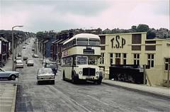 SYPTE 1336, Woodseats Road, Sheffield, 1975 (Lady Wulfrun) Tags: sheffield ct corporation bservice sypte 1336 6336wj woodseatsroad toolssteelproducts journey sheffieldtoplane 1975 lowedges tsp tsplimited aec regent v regentv roe elecogr100
