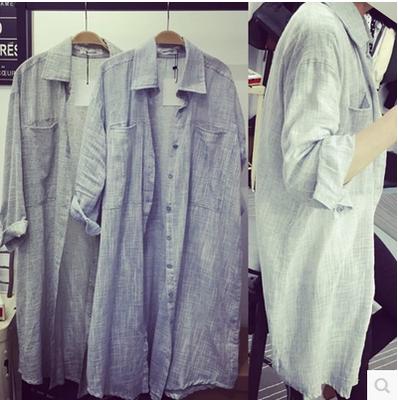 Frühling und Sommer Sonne in der koreanischen Version von Flut Bekleidung Damen Baumwoll-Shirt Kragen slim Strände Strand Sonnenkleid Cardigan
