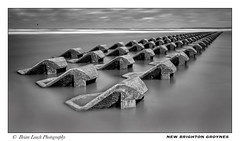 New Brighton Groynes (Brian-Leach) Tags: sea defence groynes new brighton wirral merseyside river mersey promenade lifeguard station long exposure black white monochrome