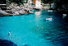 Cove swimmer (Stephen Dowling) Tags: 35mm xpro travel italy agfact100precisa lomography film cosinacx2 summer
