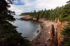 View of Monument Cove from Tripod Rock (The Burgys) Tags: landscape acadia nationalpark acadianationalpark maine coast coastal beach mountdesertisland mdi sunrise clouds ocean color rocks granite sony a99 sonya99 zeiss zeiss1635 summer polarizer wideangle longexposure monument cove monumentcove breakthroughx4nd neutraldensityfilter 10stopnd 10stop morning tripodrock