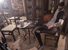 #284. Des yeux qui font baisser les miens Un rire qui se perd sur sa bouche (Gui Andretti) Tags: man men male boys guys hxnor benjaminz deadwool badunicorn mensdept tmd second life urbanstyle streetwear cafe paris digital art living playing funny