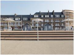 The umbrellas of Saint Valery en Caux (michelle@c) Tags: urban architecture seafront citycenter place parasol parapluie stair facade building cabin beach seasideresort saintvaleryencaux hautenormandie michellecourteau