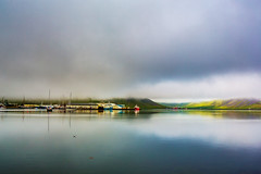 Isafjordur-Muslingur-Iceland (imogenstraub) Tags: 2016 iceland isafjordur vestfirdirwestfjords imogenstraub owlpotheosis photography bay harbor pollurinn ships fishing boats fishingboats docked morning summer am early cloudbank clouds misty mist fog shrouded reflection pristine mirror mirrored reflected reflective