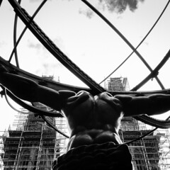 Atlas Sculpture in front of St Patrick's Cathedral (hervedulongcourty) Tags: art atlas atlassculpture bw carlzeiss carlzeisslenses ciel citylife cityart cloud fifthavenue manhattan midtownmanhattan nb nyc nuage rockefellercenter sky sony sonynex7 square squareformat usa unitedstates zeiss zeissselsonnart24mmf18za blackandwhite city nex7 photo photography publicart sculpture silhouette sonnarte1824 stpatrickscathedral echafaudage scaffolding 123bw noiretblanc 1025fav