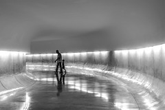 """""""lets check the other side..."""" (@petra) Tags: petra checking findingawayout metaphore passage tunnel light reflections people man child monochrome museum mon curitiba paran brasil nikond600 motion motionblur"""