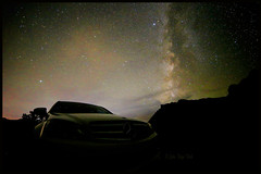 a Star amongst the stars... (Baja Juan) Tags: milky way arches national park utah mercedes benz c300 baja