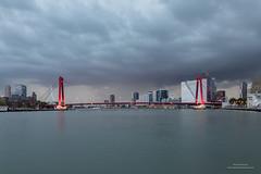 Willemsbrug (Peet de Rouw) Tags: rotterdam willemsbrug nieuwemaas onweer wolken clouds thunderstorm river skyline city cityscape stadsgezicht canon5dmarkiv