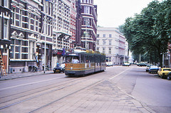 Once upon a time - The Netherlands - Rotterdam Scheepvaartkwartier (railasia) Tags: holland zuidholland rotterdam scheepvaartkwartier ret routenº5 articulatedmotorcar series160135 reconstruction werkspoor düwag infra eighties