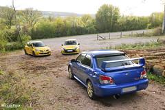 Trio Clio RS / Impreza WRX Sti (Mickael Roux [JapCars]) Tags: voiture automobile auto cars mickael roux japcars canon renault clio rs jaune sirius yellow forest fort trio vive le sport subaru impreza wrx sti boxer blue sportcar gti
