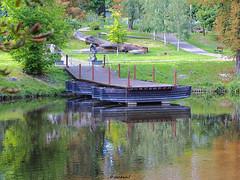 Fragment of the reconstructed pontoon bridge, built in Kozienice for the 600th anniversary of the Battle of Grunwald (darkadi1) Tags: olympus mzuiko m45mm pen epl6 park complex most bridge ywowy grunwald kozienice mazowieckie poland polska europa europe