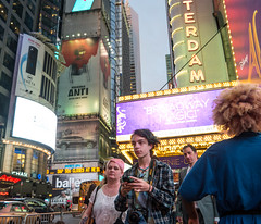 Broadway Magic (UrbanphotoZ) Tags: couple timessquare nikon pinkhair aladdin broadwaymagic amsterdam ricohtheta rihanna anti subway chase ballers sp500closesat pedestrains traffic dusk westside midtown manhattan newyorkcity newyork nyc ny