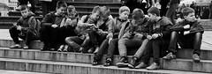 Brochette de loulous (dominiquita52) Tags: streetphotography children mobilephones boys garons enfants exterieur bw