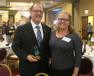 Justin Grobe, PhD, Forty Under 40 Award, with wife Connie Grobe