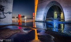 Flits, plons en veel kleur ;) (Martijn ) Tags: strobist flashlight gels eibersburen lutjegast longexposure bridge colors night wwwmartijnvandellennl