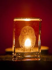 Night Owl (Alan FEO2) Tags: owls birds glass paperweights acrylic etchings candle tlights shine glow colour orange red 1 inch indoors macro macromondays backlit panasonic dmc g1 2oef