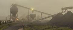 Rotowaro coal (zebedee1971) Tags: coal fog train open cast mine conveyor structure kiwirail steel mist morning trucks hopper huntly waikato glenbrook tracks rail railway